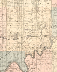 Hopkins, Illinois 1896 Old Town Map Custom Print - Whiteside Co.