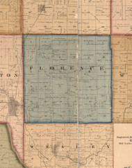 Florence, Illinois 1862 Old Town Map Custom Print - Will Co.