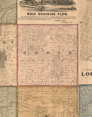 Homer, Illinois 1862 Old Town Map Custom Print - Will Co.
