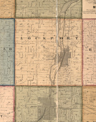 Lockport, Illinois 1862 Old Town Map Custom Print - Will Co.