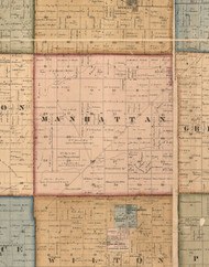 Manhatten, Illinois 1862 Old Town Map Custom Print - Will Co.