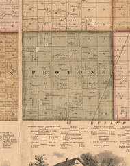 Peotone, Illinois 1862 Old Town Map Custom Print - Will Co.