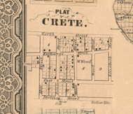 Crete Village - Will Co., Illinois 1862 Old Town Map Custom Print - Will Co.