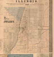 Joliet Village - Will Co., Illinois 1862 Old Town Map Custom Print - Will Co.
