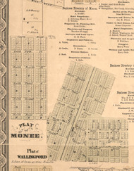 Monee Village - Will Co., Illinois 1862 Old Town Map Custom Print - Will Co.