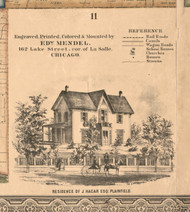 J Hagar Residence Plainfield - Will Co., Illinois 1862 Old Town Map Custom Print - Will Co.