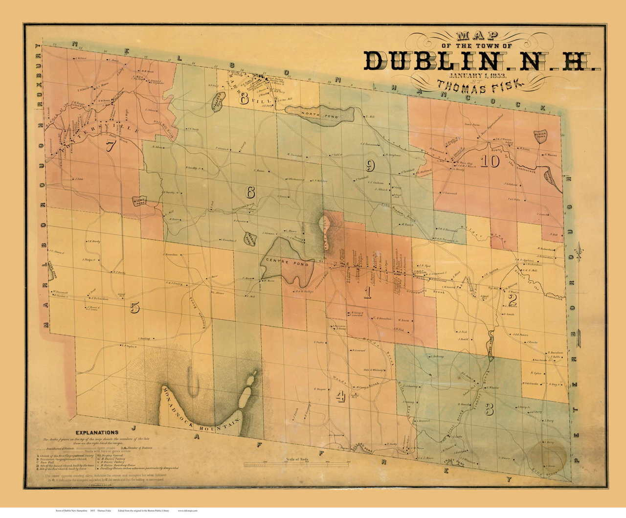 Maps Dublin.Dublin 1853 Fisk Old Map Reprint New Hampshire Towns Other