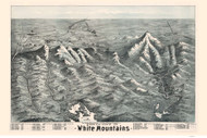 White Mountains, New Hampshire 1890 Bird's Eye View - Old Map Reprint