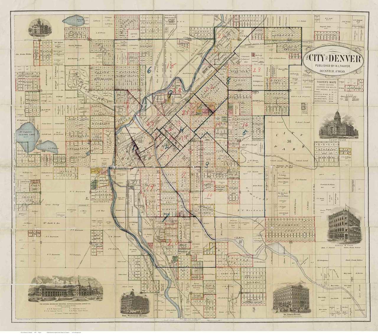 Denver 1883 Thayer - Old Map Reprint - Colorado Cities