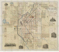Denver 1883 Thayer - Old Map Reprint - Colorado Cities