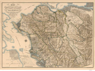 Alameda & Contra Costa Counties California 1894 - Old Map Reprint