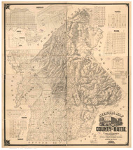 Butte County California 1886 - Old Map Reprint