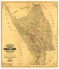 Napa County California 1876 - Old Map Reprint