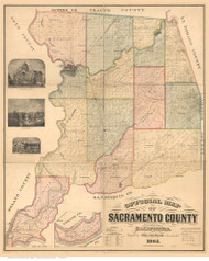Sacramento County California 1885 - Old Map Reprint