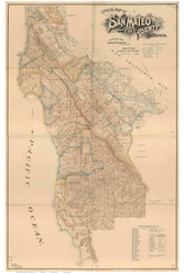 San Mateo County California 1894 - Old Map Reprint