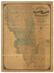 Sutter County California 1873 - Old Map Reprint