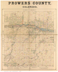 Prowers County Colorado 1889 - Old Map Reprint