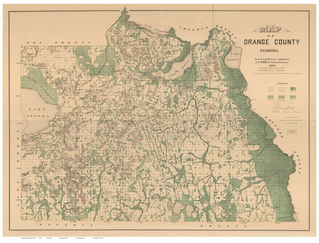 Orange County Florida 1890 - Old Map Reprint - OLD MAPS on