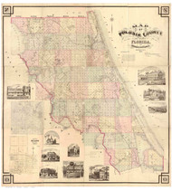 Volusia County Florida 1883 - Old Map Reprint