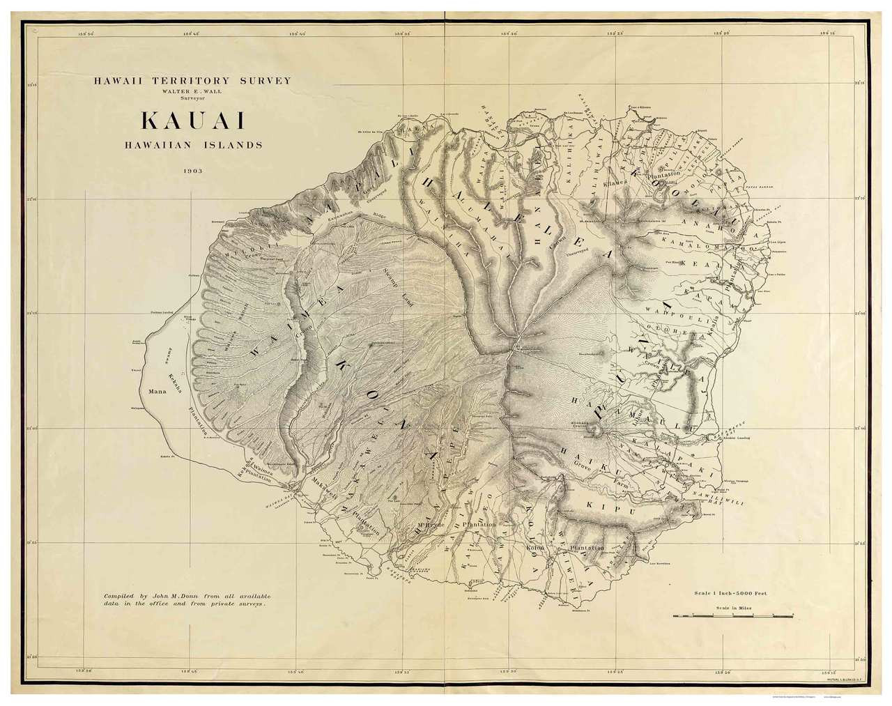 Island of Kauai - Hawaii 1903 Old Map Reprint on maui map, poipu map, hawaiian map, molokai map, hanauma bay map, kapalua bay beach map, hanalei beach map, tetiaroa map, hawaii map, lanai map, honolulu map, na pali coast map, hilo map, waimea canyon map, necker island map, oahu map, anini beach map, lihue map, niihau map, big island map,