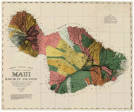 Island of  Maui - Hawaii 1885 Old Map Reprint
