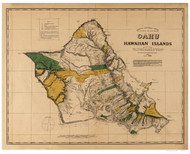 Island of  Oahu - Hawaii 1881 Old Map Reprint