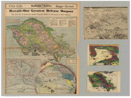 Island of  Oahu - Pearl Harbor - Hawaii 1938 Old Map Reprint
