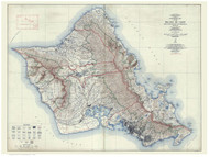 Island of  Oahu - Topographic Map - Hawaii 1938 Old Map Reprint