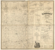 Hendricks County, Indiana 1865 - Old Map Reprint