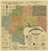 Jefferson County, Indiana 1900 - Old Map Reprint