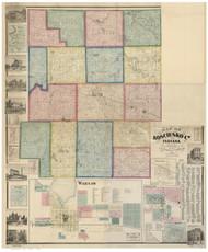 Kosciusko County, Indiana 1866 - Old Map Reprint