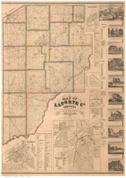 LaPorte County, Indiana 1862 - Old Map Reprint