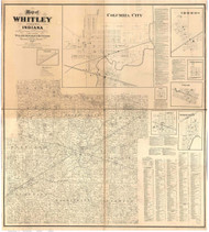 Whitley County, Indiana 1873 - Old Map Reprint