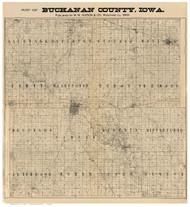Buchanon County Iowa 1896 - Old Map Reprint