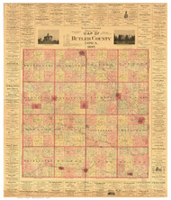 Butler County Iowa 1897 - Old Map Reprint