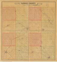 Carroll County Iowa 1884 - Old Map Reprint