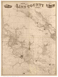Linn County Iowa 1859 - Old Map Reprint