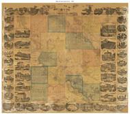 Linn County Iowa 1869 - Old Map Reprint