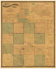 Mahaska County Iowa 1871 - Old Map Reprint