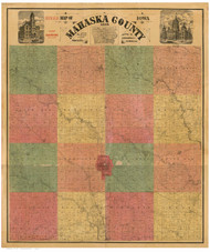 Mahaska County Iowa 1884 - Old Map Reprint