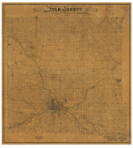 Polk County Iowa 1885 - Old Map Reprint LC