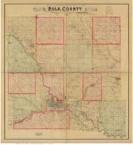 Polk County Iowa 1885 - Old Map Reprint NYPL