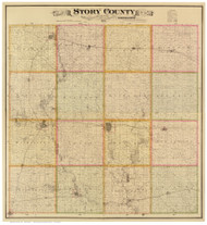 Story County Iowa 1883 - Old Map Reprint