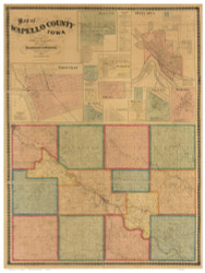 Wapello County Iowa 1870 - Old Map Reprint