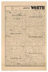 Worth County Iowa 1894 - Old Map Reprint