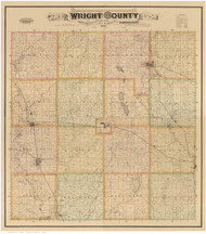 Wright County Iowa 1885 - Old Map Reprint LC