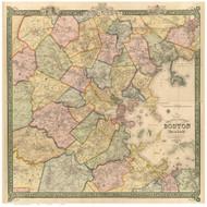 Suffolk County - Boston & Vicinity, Massachusetts 1852 - Old Map Reprint