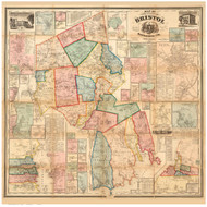 Bristol County Massachusetts 1858 - Old Map Reprint