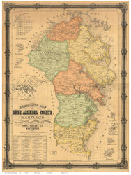Anne Arundel County Maryland 1860 - Old Map Reprint