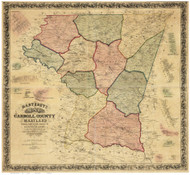 Carroll County Maryland 1862 - Old Map Reprint
